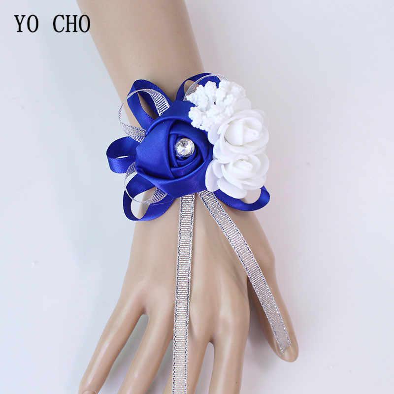 ヨーヨー町手首コサージュ花嫁介添人姉妹の手の花シルク人工花嫁の花ホワイト結婚式のダンスパーティーの装飾ブライダルウエディング