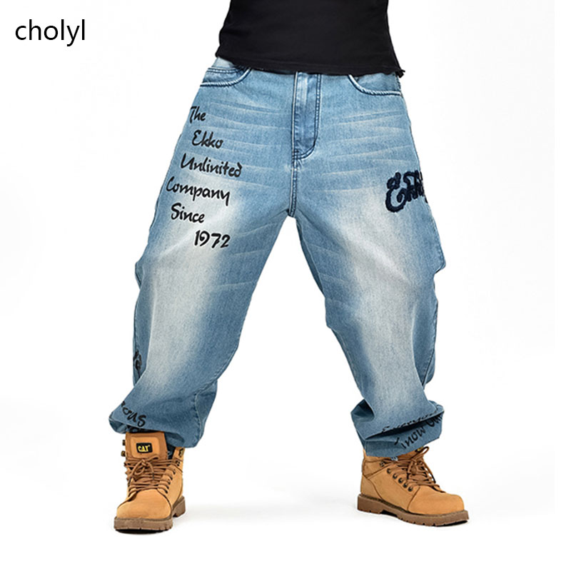 New Fashion 2017 Mens Black Baggy Jeans Hip Hop Designer Cholyl Brand Skateboard Pants Loose Style True Hiphop Rap Jeans Boy Men's Clothing