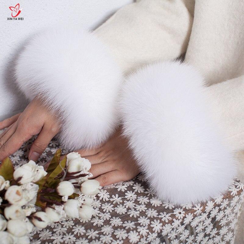 Manchettes de fourrure de renard de haute qualité offre spéciale chauffe-poignet véritable fourrure de renard manchette bras plus chaud dame Bracelet véritable fourrure Bracelet gant HY83L - 2