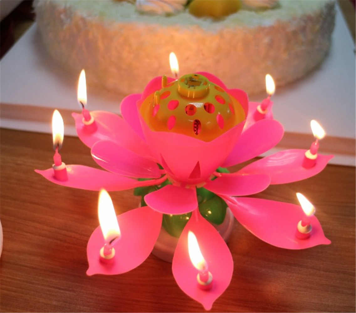 Lotus Flower Candle Happy Birthday Music Candles For Cake Party Gift Amazing Romantic Musical