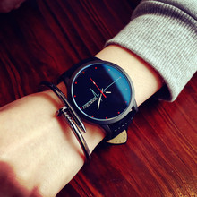 Fashion Blue glass Trendy Style Leather Strap Watches For Women Men ECG Pattern Means Love Relogio