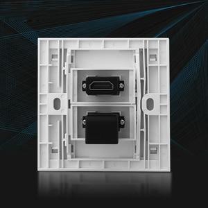 Image 2 - Dual HDMI שקעי לוחית פנל L צורת מרפק HDMI2.0 תקע נקבה Extender קיר לשקע