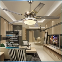 Living room ceiling fan ceiling light minimalism modern European restaurant retro stainless steel household fan with LED lamps