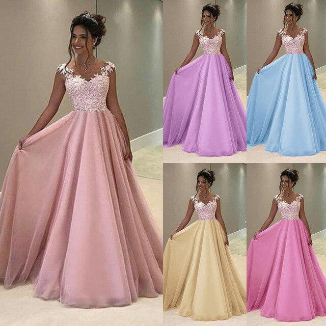 f03bce78c Nueva llegada De moda largo vestidos largos De Color De contraste De gasa  De encaje vestidos