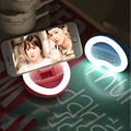 Heart-shaped Rechargeable Phone Holder Stands With Mirror Lovely Fill Light for Universal Phone Bracket