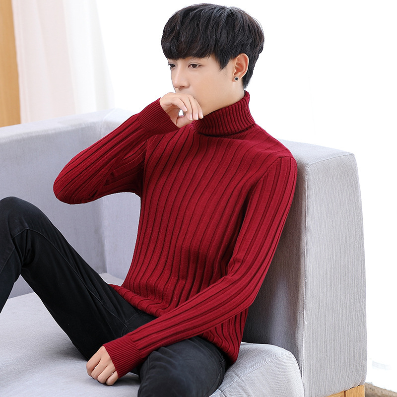 Solid Color Sweater Men's Fashion New Men Turtleneck Cultivate One's Morality Sweater Turtleneck Sweater