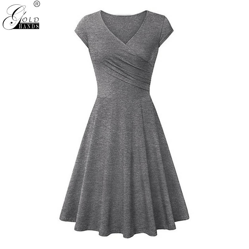 Gold Hands Summer Women Solid Dresses V-neck Bodycon Casual Dress Elastic Cotton Sexy Office Sundress Beach Holiday Party Dress