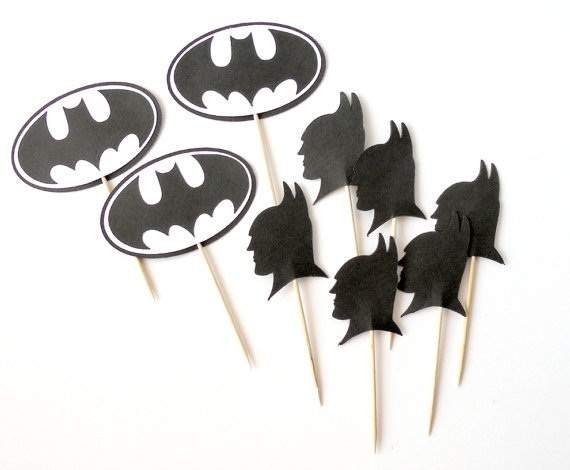 Black Batman Head Batman Symbol Cupcake Toppers Rustic Wedding