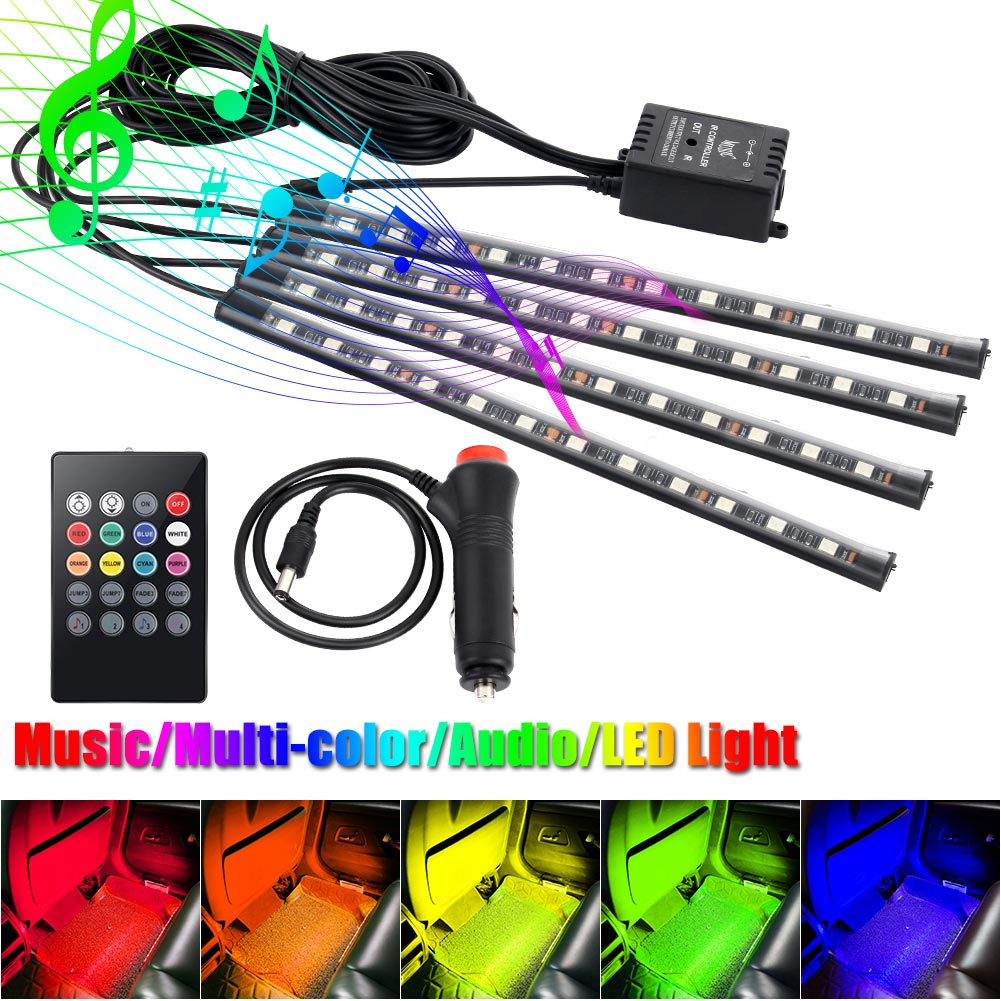 4Pcs Car Atmosphere Lamp With Remote Control RGB  LED Strip Lights Auto Decoration Cars Interior Music Rhythm Light DXY8 decorative under car auto lamp colorful led light strip decoration
