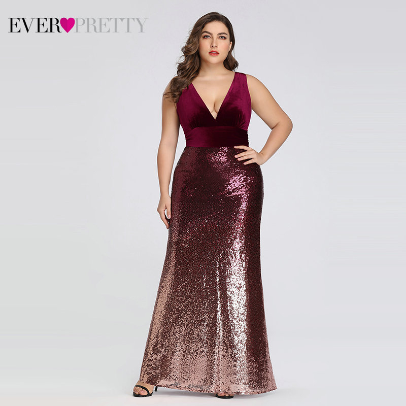 Prom-Dresses Party-Gowns Sequined Ever Pretty Mermaid Burgundy Long Pink Sleeveless V-Neck