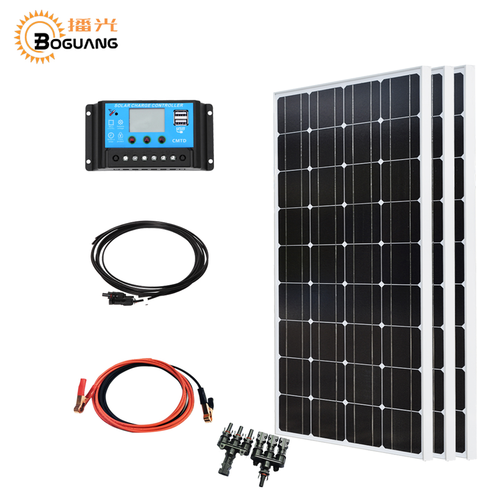 Boguang 300w solar system kit 3*100w solar panel photovoltaic module Mono cell 30A controller cable for home 12v battery charger boguang 2000w solar kit 20 100w solar panel module cell connector 12v pv system battery power charger outdoor rv house light