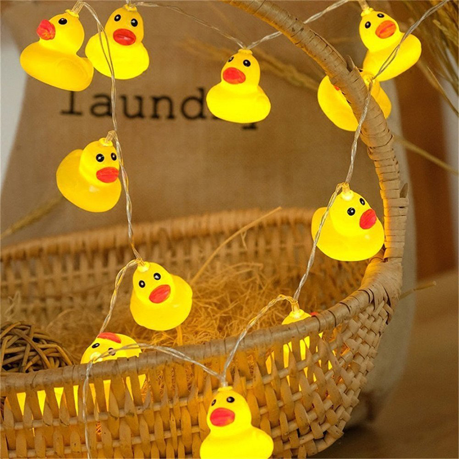 Battery Operated 10Leds/20Leds Yellow Duck LED String Lights Christmas Wedding Party New Year Decoration Led Lights Garland