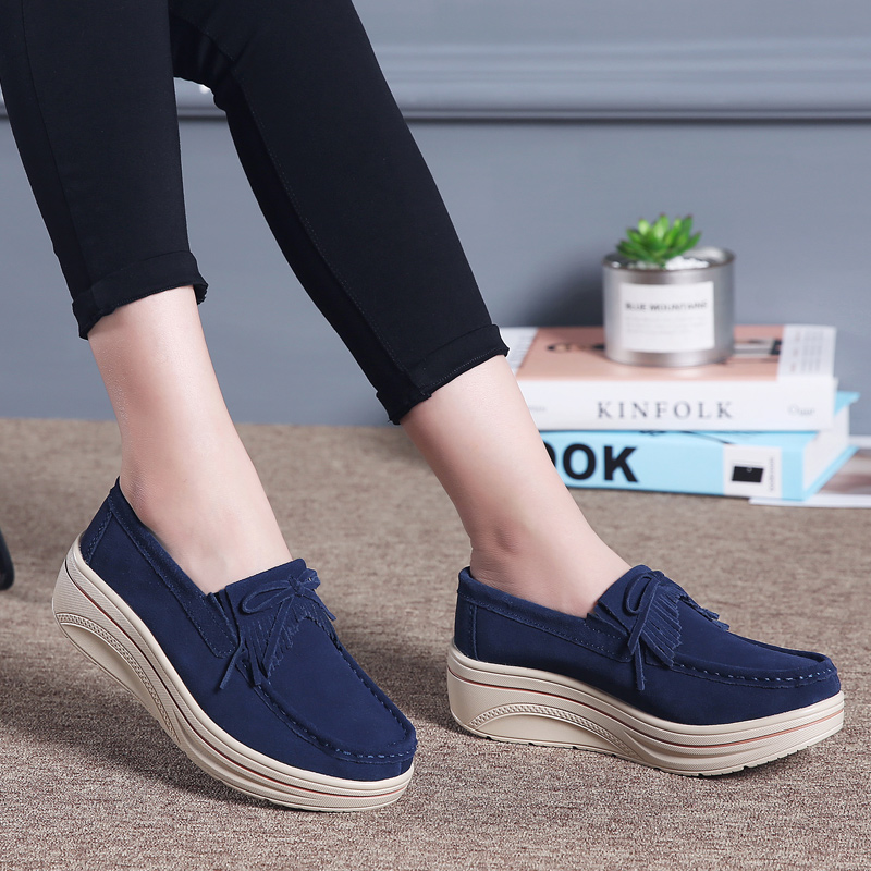 2019 Spring Women Flat Platform Shoes Women   Leather   Casual Shoes Sneakers Tassel Slip On Flats Loafers Ladies Creepers Moccasins