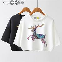 2016 Summer New Korean Leisure Cotton T Shirt Batwing Sleeve Fashion Deer Animal Print Women Tops