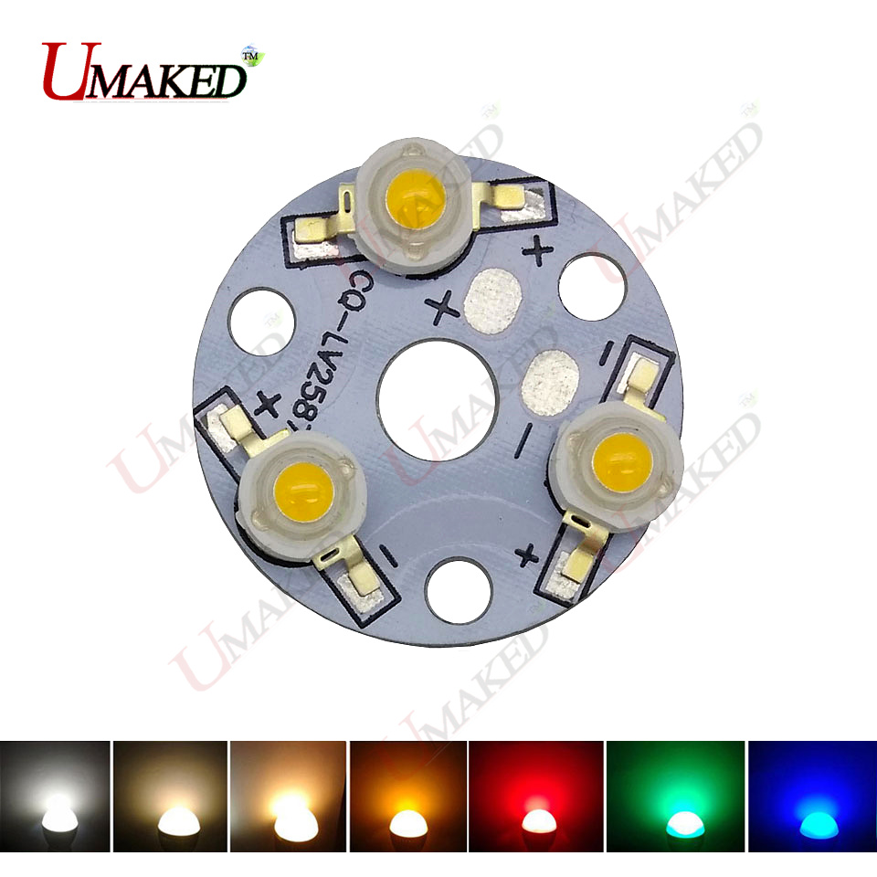(10PCS) 3W 9W 32mm LED PCB with 1W 3W chips installed, Aluminum plate board with chips for bulb light, tracking light.  leds e cap aluminum 16v 22 2200uf electrolytic capacitors pack for diy project white 9 x 10 pcs