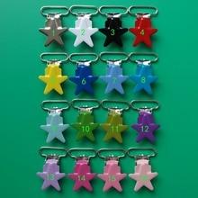 50pcs 1'' Enamel Metal Pacifier Suspender Clips,Star Shape Pacifier Dummy Clips,LEAD Free,Plastic Teeth Inserts,Mix 16 Colors