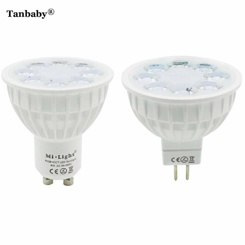 Tanbaby Mi light Dimmable MR16 GU10 4W Led Bulb RGB+CCT LED Spotlight Smart Home Led Light Bulb Lamp dc12v 2 4g wireless milight dimmable led bulb 4w mr16 rgb cct led spotlight smart led lamp home decoration