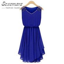 02da492ba2b44 2018 الصيف فستان الشمس بلا أكمام اللباس Vestido الشيفون V الرقبة الماس  الأزرق عارضة مطوي مثير