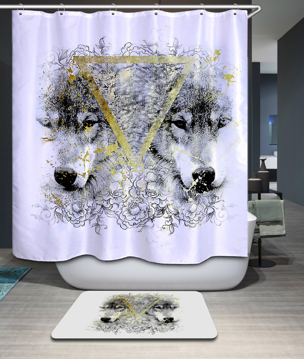 Sunflower shower curtain hooks - Homing Animal Wolf Owl Polyester Waterproof 12pc Hooks Shower Curtain Mildew Resistant Bath Curtain Chic Bathroom