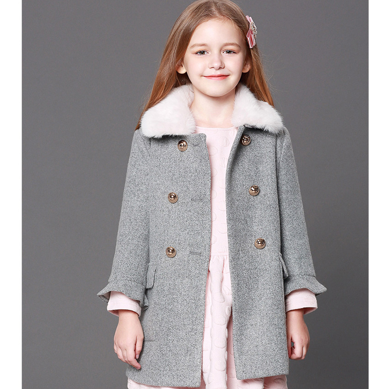 Girls' woolen jackets Europe and the United States 2018 new plus cotton fall and winter thick long section of kids woolen coats цена