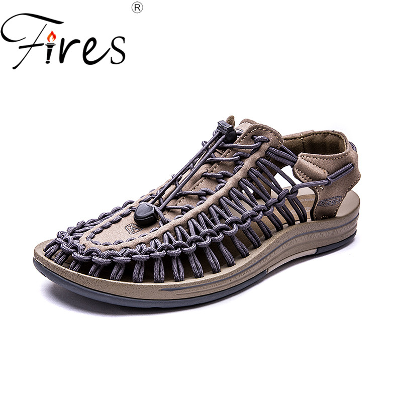 Fires Summer Man Sandals Outdoor Flat Shoes Quick-drying Beach Shoes Soft Leisure Shoes Breathable Light Man Casual Loafers