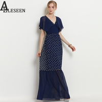 Vintage Elegant Dresses Women 2017 Fashion Summer Patchwork Animal Print V Neck Floor Length Empire Mermaid