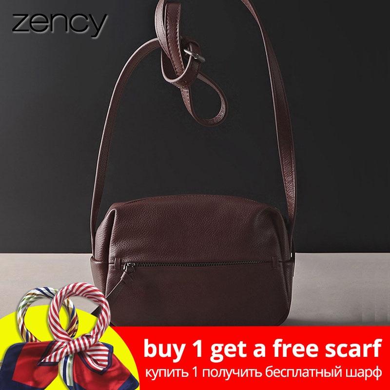 Zency 100% geantă din piele autentică din piele pentru femei Mesaj de mână de vintage Geantă de umăr de înaltă calitate pentru umăr Femeie Crossbody Pungă moale casual