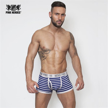 Pink Heroes Brand men underwear cotton boxer shorts Hot Sale Men Male Underwear Sexy Striped Man Boxer Fringe Underpants