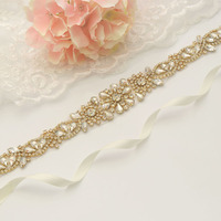 MissRDress Bridal Belt Rhinestones 35.5inch Long Gold Crystal Bridal Sash Diamond Flower Ribbons For Wedding Dress Belt JK907