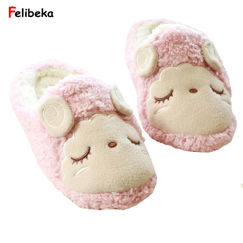 Winter Squinting sheep soft indoor household slippers for women awarm cotton plush slippers soft plush big feet pattern winter slippers