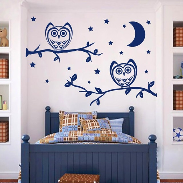 babywall decals night owl on the tree moon stars wall sticker