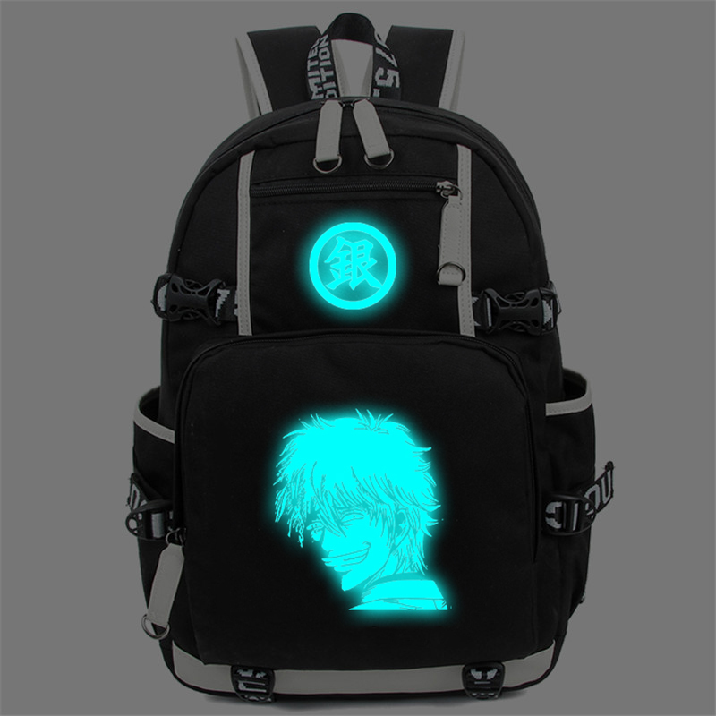 Gintama Luminous Backpack Sakata Gintoki Casual Daypack Women Men Schoolbag Shoulder Bag Anime Cosplay Travel Bags anime assassination classroom cosplay fashion casual men and women travel bags birthday gift