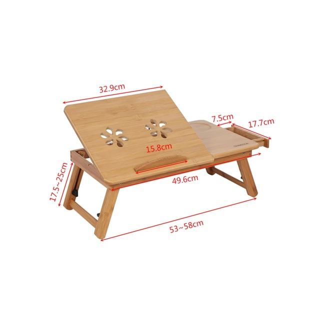 Adjustable Bed Lap Desk Bamboo Rack Shelf Dormitory Two Flowers Book Reading Tray Stand Tools Holder