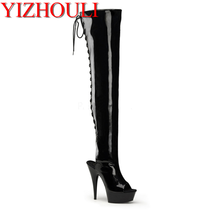 Fashion 6 inch Thigh High Boots Open Toe Designer Boots 15cm Over The Knee Boots Stiletto Heels sexy Platform High Heel Boots fashion denim over the knee boots sexy open toe high heel boots woman thigh high boots stiletto heels jeans boots