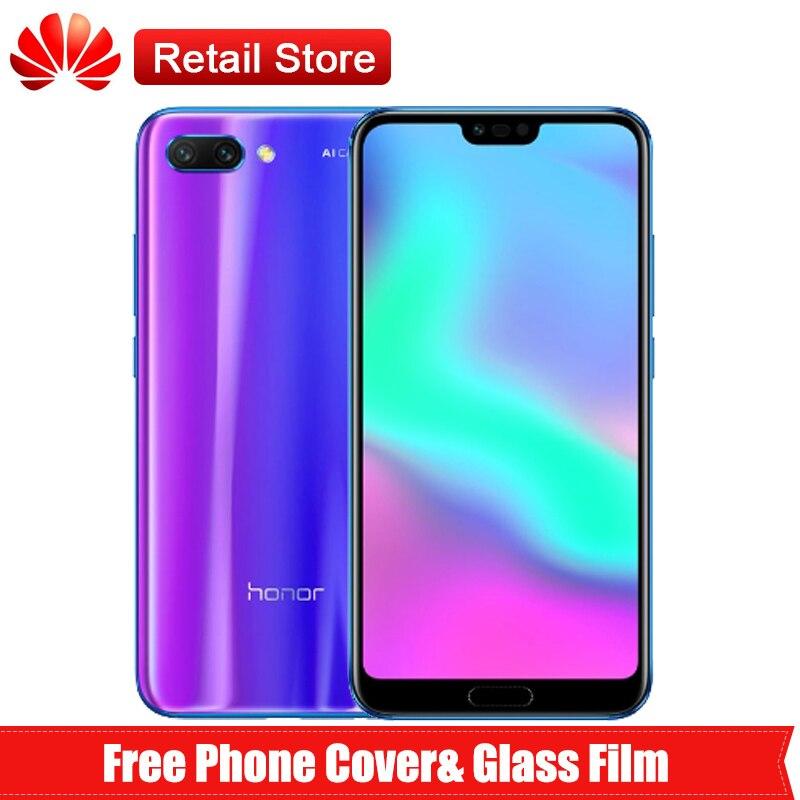 "Huawei Honor 10 смартфон 4G телефон Kirin 970 5,84 ""Android 8,1 2280×1080 3 AI Камера 24MP NFC Быстрая зарядка 4G B 128 ГБ"