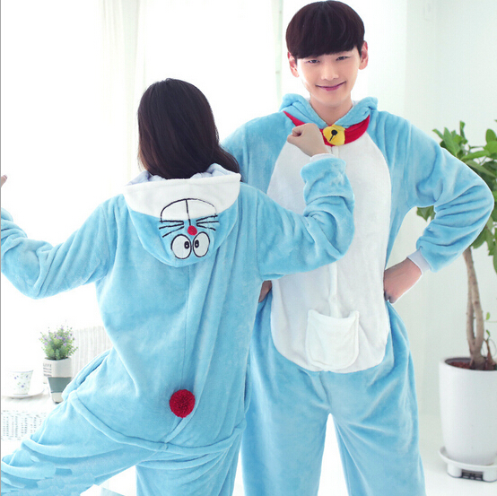 High Quality Wholesale Doraemon Unisex Flannel Hoodie Pajamas Costume Cosplay Animal Onesies Sleepwear For Men Women Adults