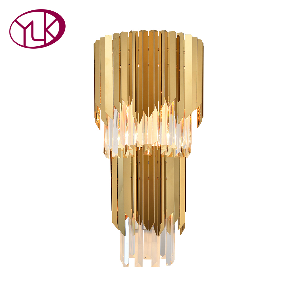 Youlaike Modern Gold Wall Sconce Lighting Two Level Bedside Living Room Wall Lamp AC90-260V Luxury Home Light Fixtures цена