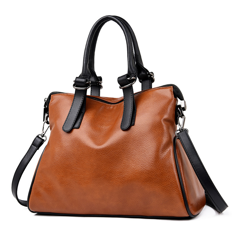 New casual design high quality solid zipper pu leather women messenger bag over shoulder large capacity tote lady office clutch
