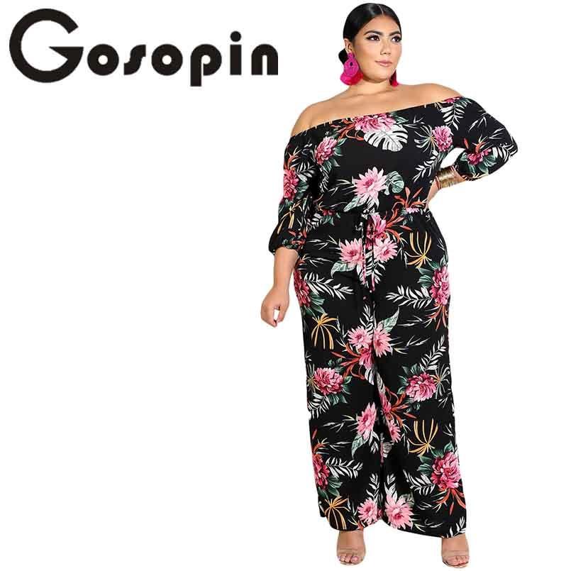 Gosopin Off Shoulder Women   Jumpsuit   Plus Size Tropical Floral Print Black Bodysuit Fashion Rompers Wide Leg   Jumpsuit   610856