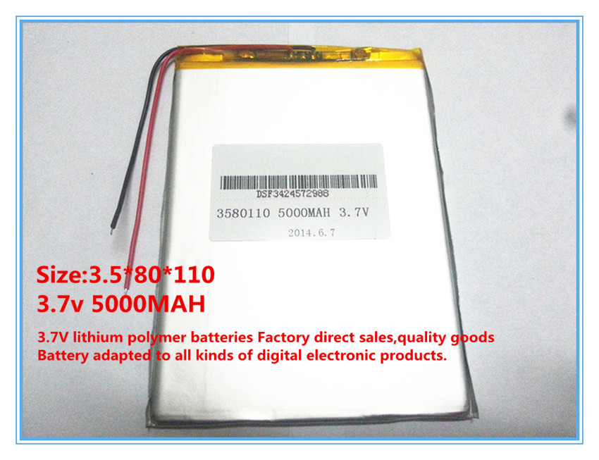 Oriinal Li-ion battery 3.7v tablet 3.7v 5000mah (Approx) for 8 inch N83,N86 A85,A86 rechareable battery for Tablet PC 3580110 ...