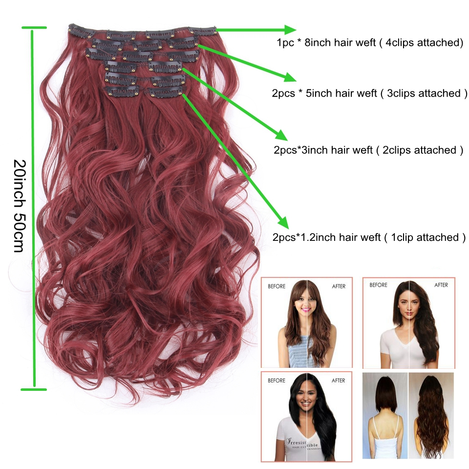 7pcsset Clip In Hair Extensions 20inch 50cm Curly Wavy Synthetic
