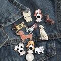 Модная мультяшная брошь в виде животных, бесплатная доставка, 10 стилей, милые собаки, металлические эмалированные значки, значок, рубашка, с...
