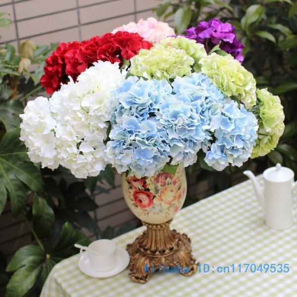 1 꽃다발 아름다운 인공적인 큰 수국 실크 플라워 공 - 휴일 파티 용품