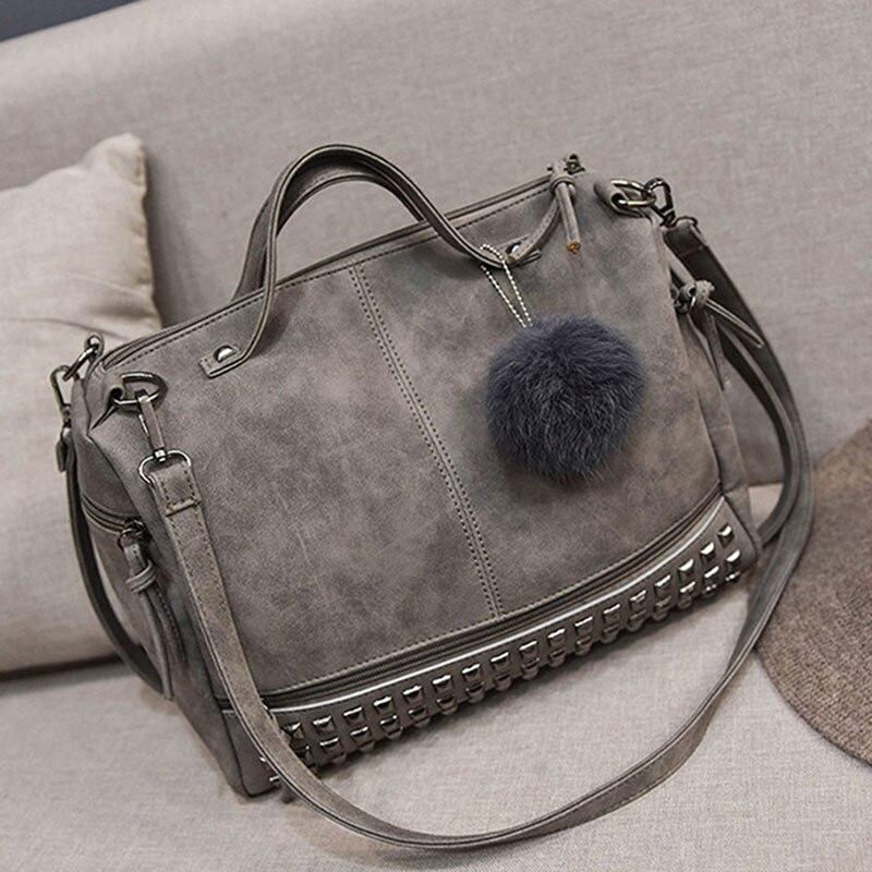 Bolsa feminina vintage de couro, bolsa maiores de rebite para mulheres