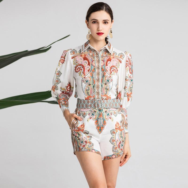 Red RoosaRosee 2019 Women's Floral Print Lantern Sleeve Turn Down Collar Blouse + Shorts + Belt Resort Suits Two Piece Shirt Set