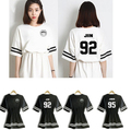 Kpop BTS Bangtan Boys jin j-hope suga rap jimin V jung kook one-piece dress white black cotton vestido saia