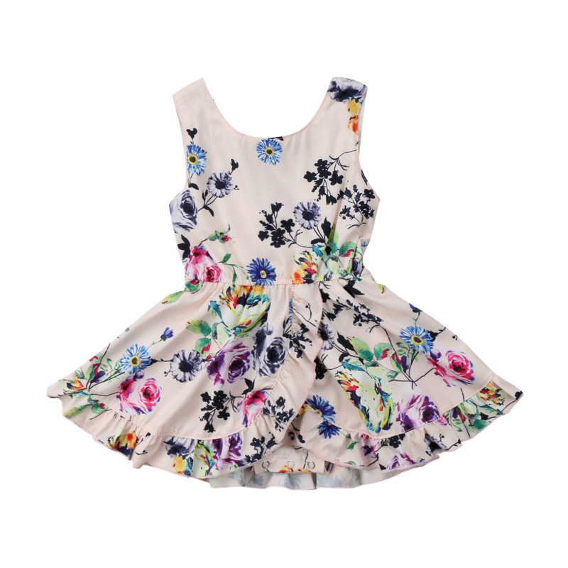 Toddler Kids Baby Girl Floral Ruffles Sleeveless Tutu Dress Beach Summer Vestidos Party Wedding Princess Dresses Clothes Sunsuit