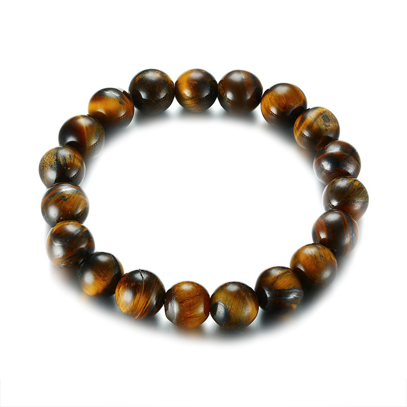 10mm Tiger Eye Beads Strand Bracelet Healing Bangle for Men Woman Meditation Braslet Elastic Brackelts Male Jewelry Ornament