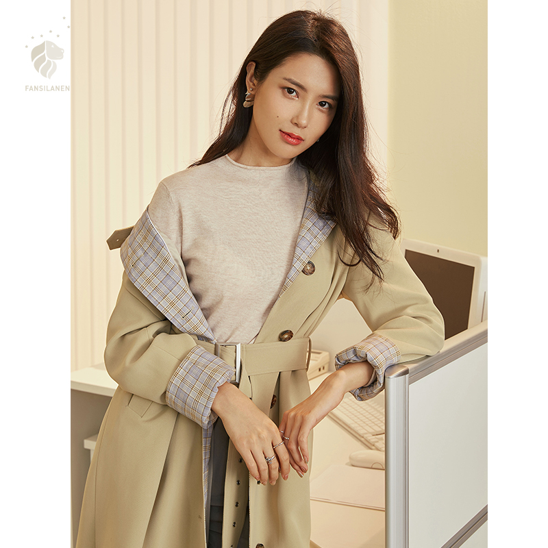FANSILANEN Fashion New Arrival Autumn/Spring Solid Khaki   Trench   Coat For Women Feminine Loose Female Coat Long Z84088