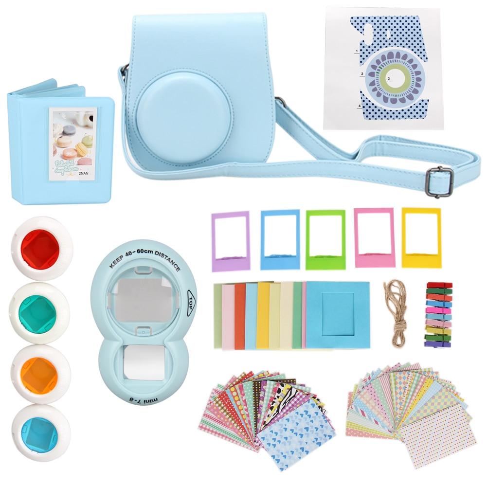 цена на 9 in 1 Instant Film Camera Album Bundles Kit Camera Case Bag for Fujifilm Instax Mini 8 Instant Camera Accessory Bundles Set